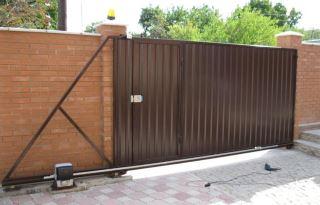Фото процесса производства Откатные ворота из профнастила в Волгограде